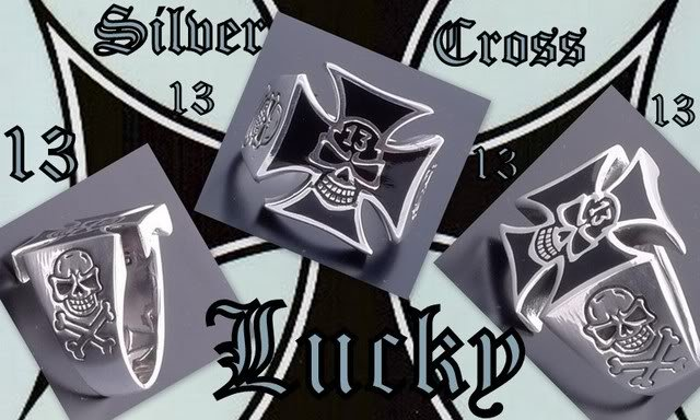 925 SILVER MALTESE CROSS LUCKY 13 BIKER RING US sz 11