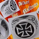 925 Silver Iron Maltese Cross Flame Biker Ring SZ 10.5