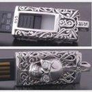 Silver 4GB USB Tribal Skull Flashdrive Biker Pendant