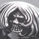 Sterling Silver Ghost Skull Biker Chopper Ring sz 10.75