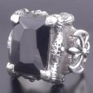 925 SILVER BATTLE CLAW AXE ONYX BIKER KING RING sz 10