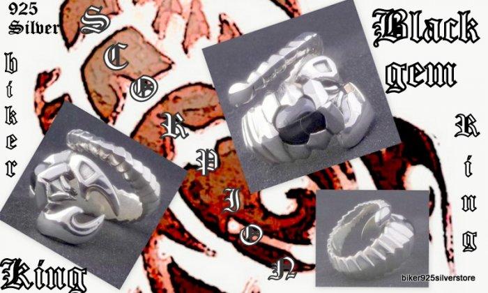 925 SILVER SCORPION BLACK GEM BIKER KING RING sz 12