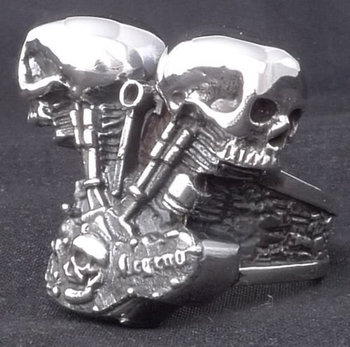 925 SILVER DOUBLE SKULL PISTON BIKER RING sz 12.5