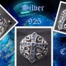 925 SILVER GOTHIC CROSS TATTOO BIKER GEM RING sz 9.75