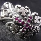 925 SILVER TRIBAL GOTHIC GEM CROSS KING RING 10.5