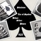 925 SILVER SKELETON ACE CARD DECK BIKER KING RING 12