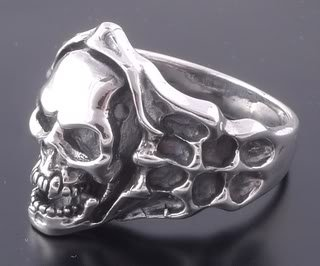 Sterling Silver Skull Bone Flame Biker Ring US sz 11.25