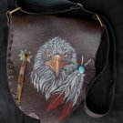 CALF LEATHER EAGLE FEATHER SHOULDER UNIQUE CHOPPER BAG