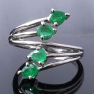 0.85 ct Emerald Sterling Silver Ladies Ring US sz 6.75