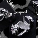 925 Silver Leopard Enamel Print Ladies Ring US sz 7.25