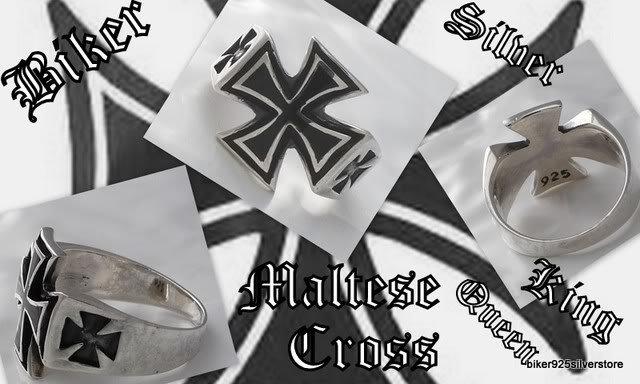 925 SILVER MALTESE CROSS SOLID BIKER KING RING US 11.5