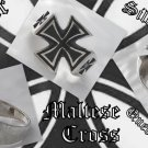 925 SILVER MALTESE CROSS SOLID BIKER KING RING US 11.5
