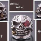 925 Silver 3D Skull Cigar Biker Pirate Ring US sz 10.75