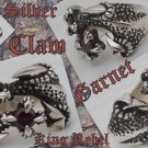 925 SILVER BATTLE CLAW GARNET BIKER KING RING sz 12