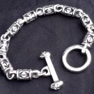 CUSTOM CROSS SKULL CLASP STERLING SILVER BRACELET 8""