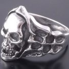 Sterling Silver Skull Bone Flame Biker Ring US sz 12.75