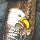 BIFOLD TRIBAL CARVED EAGLE BIKER CALF LEATHER WALLET