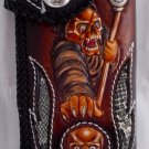 AWESOME BIFOLD CARVED GHOST TRIBAL STINGRAY BIKER CHOPPER CALF LEATHER WALLET