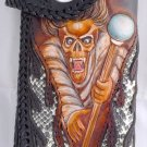 NEW AWESOME BIFOLD CARVED GHOST STINGRAY TRIBAL BIKER CHOPPER CALF LEATHER WALLET