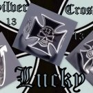 925 SILVER IRON CROSS LUCKY 13 SKULL BONE RING SZ 12.5