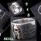 CUSTOM 925 STERLING SILVER SOLID HALF SKULL BAND BIKER CHOPPER KING RING US SZ12