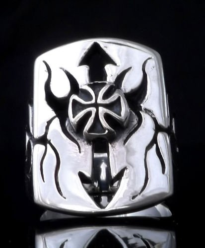 925 SILVER MALTESE CROSS TRIBAL ARROW BIKER CHOPPER ROCKSTAR KING PUNK RING 12
