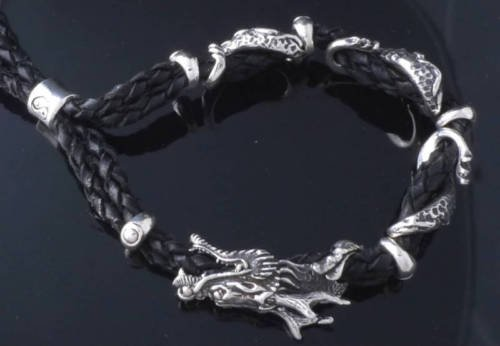 CUSTOM 925 SILVER LEATHER CLAW DRAGON's TEETH BIKER CHOPPER LOWRIDER BRACELET