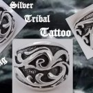 925 Sterling Silver Tribal Tattoo Chopper Biker Chopper King Ring US sz 7