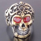 925 SILVER SKULL TRIBAL TATTOO FACE RED GEM ZIRCONIA EYES BIKER RING US SZ 10