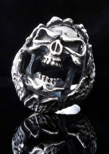 925 STERLING SILVER CUSTOM ENCRUSTED SKULL JAW KING BIKER ROCK STAR RING US sz 9
