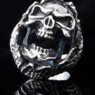 925 STERLING SILVER CUSTOM ENCRUSTED SKULL JAW KING BIKER ROCK STAR RING US sz 9