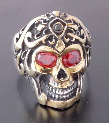 925 SILVER SKULL TRIBAL TATTOO FACE RED GEM ZIRCONIA EYES BIKER RING SZ 12.25