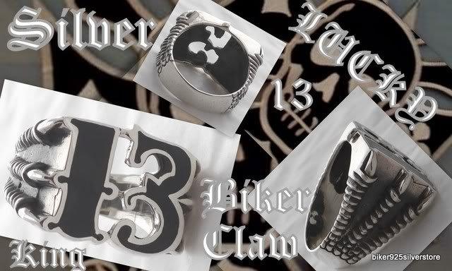 925 SILVER LUCKY 13 BIKER CLAW DRAGON FANG KING ROCK STAR CHOPPER RING sz 12