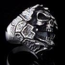 925 STERLING SILVER CUSTOM ENCRUSTED SKULL JAW KING BIKER ROCKSTAR RING sz 12.75