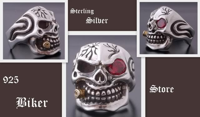 925 SILVER 3D SKULL CIGAR PIRATE BIKER RING US SZ 11
