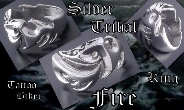 925 STERLING SILVER TRIBAL FIRE TATTOO FLAME BIKER CHOPPER KING RING US 9.5