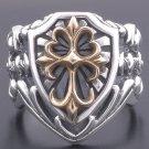Custom 925 Silver Gothic Cross Medieval Templar Biker Chopper Ring US sz 13
