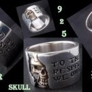 CUSTOM 925 STERLING SILVER SOLID HALF SKULL BAND BIKER CHOPPER RING US SZ 10