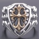 Custom 925 Silver Gothic Cross Medieval Templar Biker Chopper Ring US sz 10