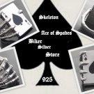 925 SILVER SKELETON ACE CARD DECK CLAW BIKER KING ROCKSTAR RING US sz 9