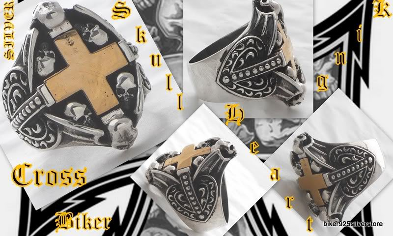 925 Silver Skull Cross Biker Heart King Ring US sz 10
