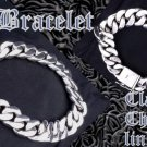 925 SILVER FANCY SMOOTH CHAIN LINK BIKER ROCK STAR CHOPPER KING BRACELET 8.5""