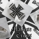 925 SILVER MALTESE CROSS BIKER KING CHOPPER QUEEN ROCK STAR RING US sz 10.5