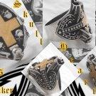 925 Silver Tribal Skull Cross Heart King Biker Chopper Rock Star Ring US sz 11