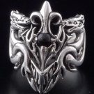 925 SILVER DRAGON FLEUR CROSS GEM CHOPPER ROCKSTAR RING US SZ 7 TO 15
