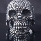 STAINLESS STEEL AMAZING TRIBAL FLOWER SKULL CHOPPER ROCK STAR RING US SZ 9