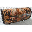 CARVED INDIAN BULLHORN FRONT BAR LEATHER TOOL KIT BAG