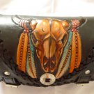 Carved Bull Horn Front Bar Leather Outlaw Biker Tool Kit Bag New