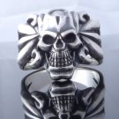 925 STERLING SILVER TRIBAL SKULL BONE BIKE RIDER CHOPPER RING US SZ 7 TO 15