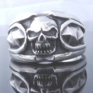 925 STERLING SILVER TRIBAL SKULL RIVETS CHOPPER KING RING US SZ 7 TO 15